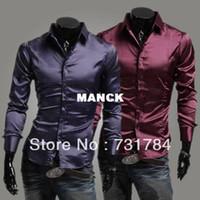 Cheap Free Shipping New 2014 Men's Purple Silk Shirt Mens Slim Fit Dress Shirts Sport Shiny Poplin Items Casual Men Shirts