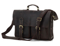 Wholesale Rare Genuine Crazy Horse Vintage Leather Messenger Bags For Men Briefcases JMD Leather Bags Drop Shipping R