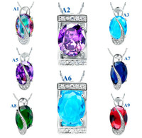 Wholesale Mixed styles Top Quality CZ sterling silver Crystal Jewelry Newest Christmas Gift fashionl Pendant Necklaces k Gold Plated