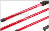 Cheap 3pcs Lot Wholesale Red Hiking Pole Aluminum Alloy 3-section Alpenstocks Telescopic Antishock Pole Walking Stick 17489