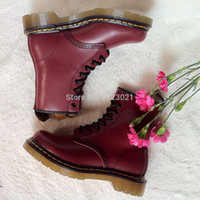 dr martens boots - Authentic Dr Martins CHERRY RED SMOOTH Women s Genuine Leather Boots Shoes Ankle Marten Boots Shoes R11822600