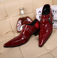 Wholesale Fashion Cow Leather Shoes Mens Dress Shoes red pointed buckles design Men wedding shoes EUR szie