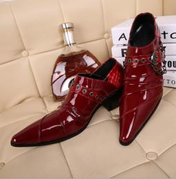 Wholesale Fashion Cow Leather Shoes Mens Dress Shoes red pointed buckles design Men wedding shoes EUR szie
