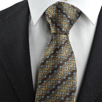 Cheap New Brown Bronze Coin Checked Antique Rare JACQUARD Men's Tie Necktie Gift KT0079