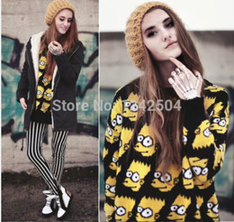 Wholesale New Winter Knitted Sweater Pullovers For Women Simpson Character Pattern O Neck Cute Christmas Sweaters All Match WY03