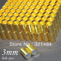 Cheap 500pcs 4*19mm hole size 3mm Gold plated Tone Leather jewelry tube magnetic clasp end caps for leather cord