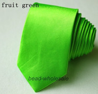 Cheap Wholesale-Free Shipping 1pc Fashion Gentle Polyester Silk Ties Brands for Men Skinny Suits Dress Shirts Solid Colors Fruit Green