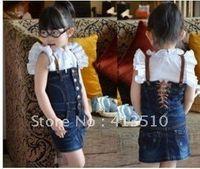 accordions - summer fashion baby girls accordion denim jeans dress paillette neckline kids dresses