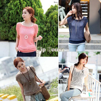 Cheap 2014 Women Loose Hollow-out Short Batwing Sleeve Knit Pullover Jumper Knitwear Sweater Tops SV000305