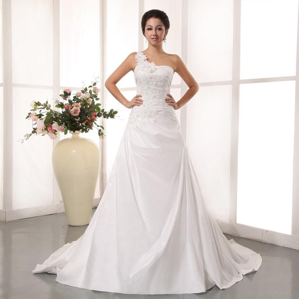 Discount New 2014 Fashion Wedding Dresses One Shoulder Court Train Lace Up Back With Applique