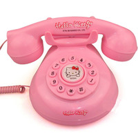 Wholesale Retail Lovely Hello Kitty Cartoon Retro Home Corded Telephone Siz cm With Box
