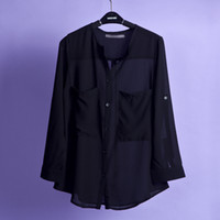 Cheap HOT Casual Women's Chiffon Shirts Full Sleeves Turn Down Collar Solid Tops Big Pockets Charming Women's Clothing SHIRTS-61934
