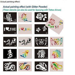 Wholesale 600pcs mixed styles Glitter Tattoo stencil Body Painting design Tatoo Kit template airbrush supplies