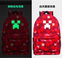Wholesale 2014 hot sale Luminous Minecraft Casaul Travel Bags Unisex Canvas Backpacks Kids School Bags colors best price in stock now