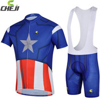 anti novel - 2014 Captain America Cycling Jersey Sets Short Sleeves Novel Bike Jerseys and Bib Padded Shorts Cycling Jersey Wear for Men