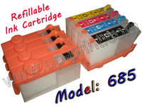 Ink Cartridge Compatible C,K,M,Y 10sets refillable ink cartridge with chips for HP685 hp 685 hp685 deskjet 3525 4615 4625 5525 6525