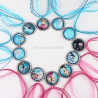 Wholesale Frozen necklace party favors bottle cap necklace Queen Anna Elsa silk ribbon cord necklace Pendant necklaces Mixed set of