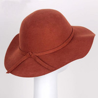 Wholesale Wool felt women s large brim sun hat big fedoras Bowler Derby Top Hat
