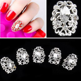 Wholesale 2014 Fashion D Nail Art DIY Metal Hollowed Stickers Rhinestones Nail Art Tips Decals Decoration H11931