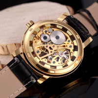 Sport date - Brilliant Skeleton Dial Hand winding Mechanical Sport Watch for Men Hollow Transparent Dial with Leather Band Strap H11606
