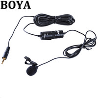 Wholesale BOYA Omnidirectional Lavalier Clip Microphone for Canon Nikon Sony DSLR Camcorder Audio Recorders for iPhone S S D1389