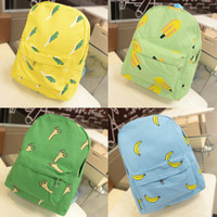 Backpack Style banana day - New Fashion Women Canvas Backpack OK Hands Onion Banana Pattern Print backpacks school bags for teenagers Girls Light Green H12054