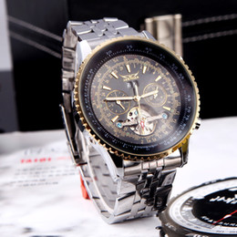 Wholesale Jaragar Automatic Self winding Mechanical Wrist Watches Men with Analog Display Stainless Strap Luxury Design Wristwatch H11603
