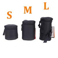Wholesale Black Size S M L Fly Leaf Lens Case Pouch Bag for DSLR Nikon Canon Sony Camera Lenses Black FY D1325