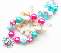 Wholesale Hotter frozen necklace kids bubble gum chunky jewelry Elsa Anna princess kids girls necklace