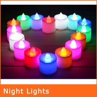 color changing night light - Night lights LED Candle Night Lamp Change Color Electronic Candle Colorful Lights NL099