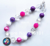 Wholesale WOW t Frozen Elsa Anna chunky bubblegum bead necklace bubble gum necklace for kids girl jewelry