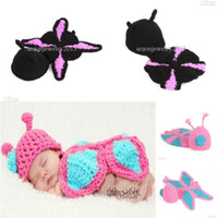 Summer beanie kids clothes - 2015 Cute Baby Infants Knit Hat Beanie Crochet Butterfly Photography Props Cap Kids Clothes Lovely Gift Colors XDT11