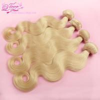 Cheap Q Love Hair,bleach Blonde color 613# Brazilian Virgin Hair body wave 4pcs lot 100% unprocessed human hair Free Shipping