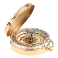 Wholesale Gold Color Nauttcal Brass Classic Pocket Watch Style Camping Compass Alluminum Alloy H1984