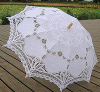 victorian parasol - White Wedding Lace Parasol Umbrella Victorian Lady Costume Accessory Bridal Party Decoration Photo Props