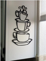 Cheap Wholesale-[Minimum order $10(Mix order)] 38*21cm COFFEE house cup java SILHOUETTE wall Stickers Sticker decal Home Decor art metal mug NU