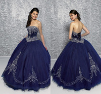 Wholesale Exquisite Embroidery Quinceanera Dresses Hot Sale Ruffle Navy Blue Color Tulle Sleeveless Lace Up Floor Length Prom Dress New CGL602