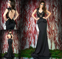 Cheap Elegant 2014 New Arrival Mermaid Long Black Evening Dresses Sexy Illusion V Neck Peplum Open Back Sweep Train Prom Gown Cheap