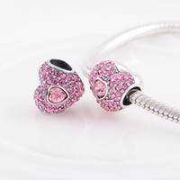 Wholesale Love Hearts Crystal Beads Silver Pink Crystal Heart Love Charm fit European Bracelets No YZ432