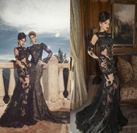 Wholesale 2014 Black Mermaid Evening Gown Noble Sheath Lace Applique Sheer Gloves Crew Neckline Sleeveless Hand Made Formal Gowns SKG