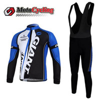 Wholesale Hot Sale Giant Men Cycling Jersey Classic Style High performance Fully fashioned Comfortable Winter Thermal Cycling Jersey Long Bib Pants