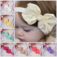 Wholesale Elastic bow knot Headbands baby girls chiffon flower hair bands kids classic tiara Princess headband Hot sale Baby Christmas gifts
