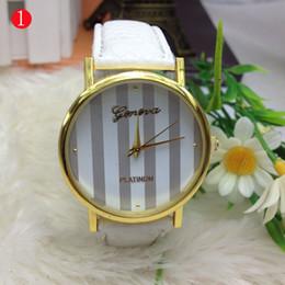 Geneva Leather bands Stripe face golden cases women ladies girls fashion Platinum good quality watches 100pcs lot