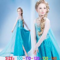 Cheap Frozen elsa anna 2014 Children Christmas Baby Girl Princess long Sleeve party Birthday lace Tutu Sequins Dresses 5 pcs per lot(1701011)