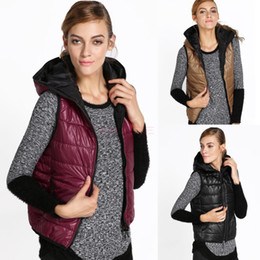 Wholesale Autumn Winter All Match Women s Hooded Vest Spring Coat Lady Cotton Padded Black Dark Red Gold Waistcoat SV007516