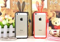 Pare-chocs 5s transparent France-Populaire! Lapin Silicon pare-chocs pour iPhone 6 Plus 5 5S Galaxy Note3 Note4 S5 S4 Transparent Crystal Case Bumper avec bracelet livraison gratuite