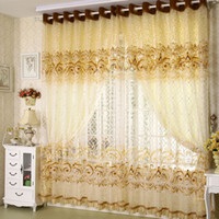 Wholesale Home curtains for windows Decoration Yellow Grey Pteris Burnout tulle of curtain curtains for living room bedroom colors blind