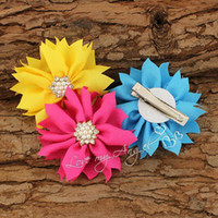 hair cilps fabric flower pin - Baby girl hair clips fabric flower pin in handmade chiffon flower with pearl and Rhinestones center mix color
