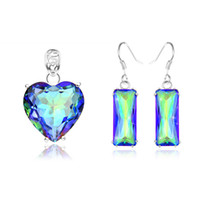 aqua gems - Mix Style Set Holiday Jewelry Gift Classic Mystic Topaz Gems Sterling Silver Pendant Earrings
