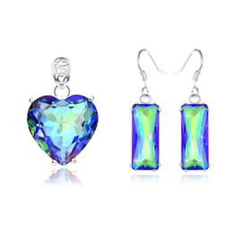 Wholesale Mix Style Set Holiday Jewelry Gift Classic Mystic Topaz Gems Sterling Silver Pendant Earrings